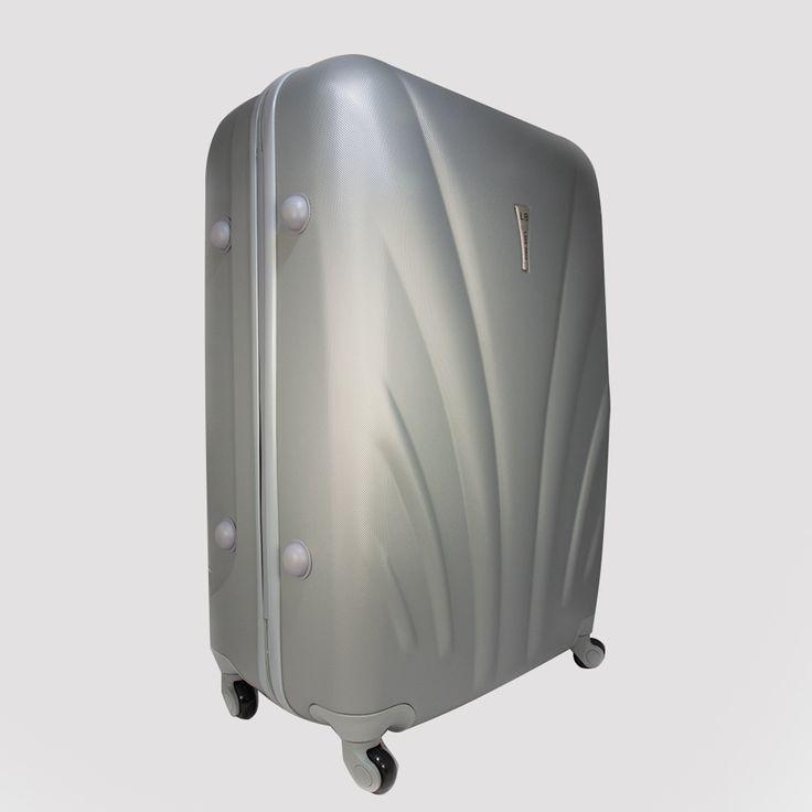 Veľký strieborný cestovný kufor plastový vo vyhotovení ABS