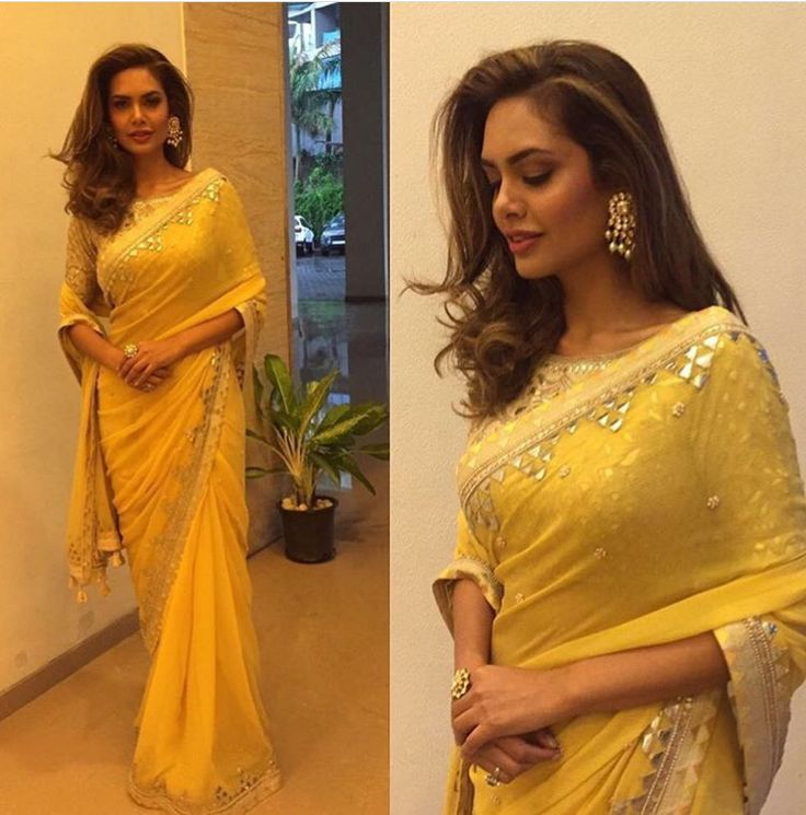Yellow saree by Anita Dongre... With her signature gotta work...