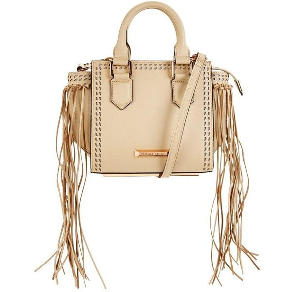Kendall & Kylie Kendall &Amp; Kylie Brook Mini Fringed Tote Bag (1,560 ILS) ❤ liked on Polyvore featuring bags, handbags, tote bags, beige handbags, mini tote handbag, mini tote bags, beige tote and handbags totes