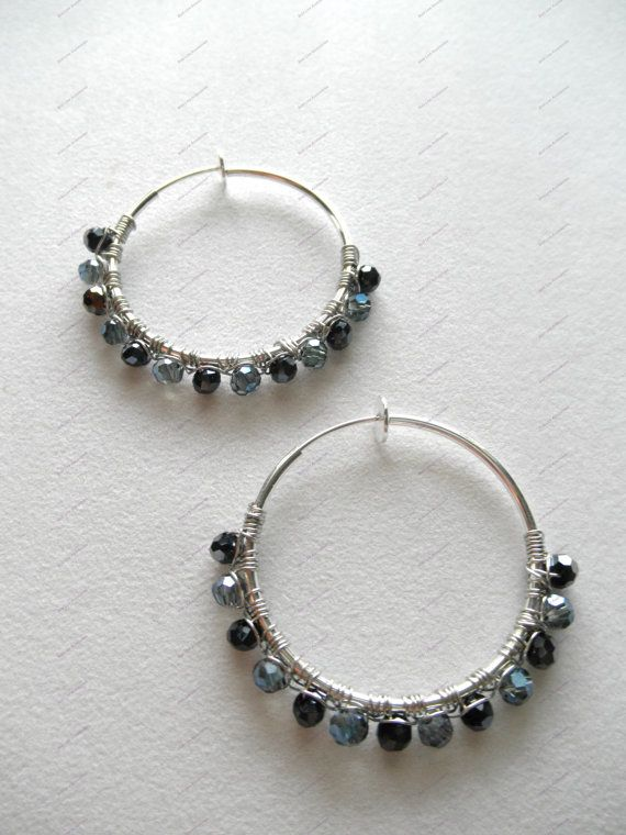 Sterling Silver Wire Wraped Blue Hoop by BoldLineAccessories