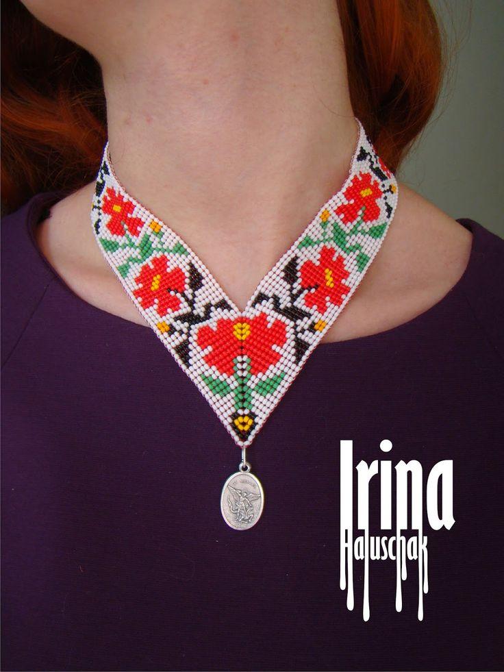 Hand-made by Irina Haluschak: Кутовий гердан з квітами
