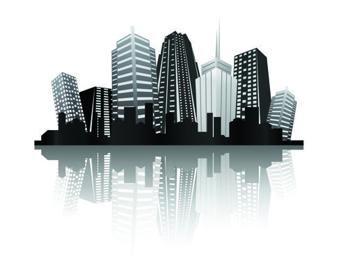 Black with white city building design vector 01
