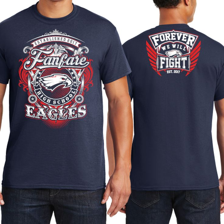 Design by -RoverA- | Athletic T-Shirt Design for Fanfare High School Eagles https://99designs.com/t-shirt-design/contests/athletic-t-shirt-design-fanfare-high-school-eagles-714161/entries/137