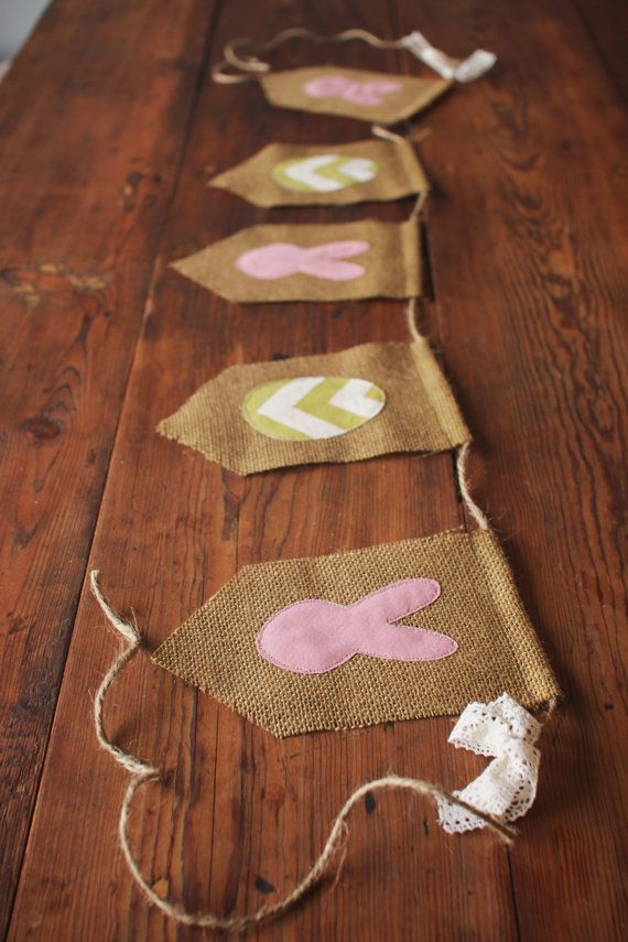Burlap Easter Banner Chevron Eggs and Bunnies by LittleMaisie