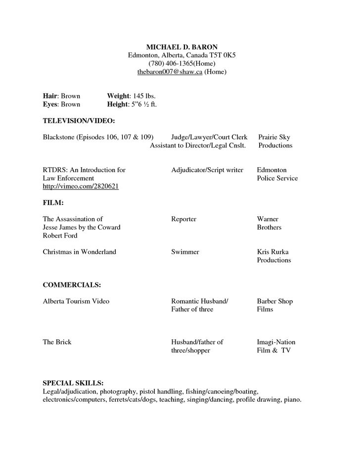 Attractive Childs Audition Resume Template Stylish Idea Acting Ideas Theater
