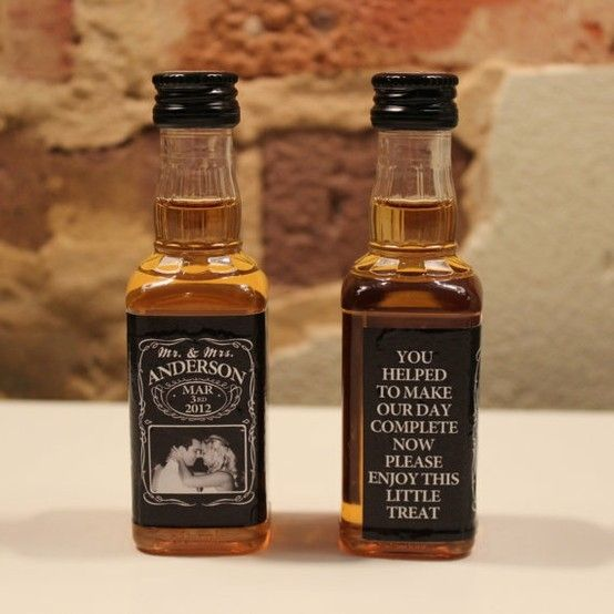 $49.95 100 Custom Jack Daniels Mini Bottle Labels Wedding Favors by Adipietro21 ~This would be a great way to tie in our theme!