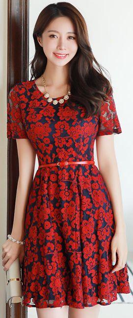 StyleOnme_Floral Lace Short Sleeve Flared Dress #red #lace #dress #koreanfashion #kstyle #kfashion #datelook #summertrend #seoul