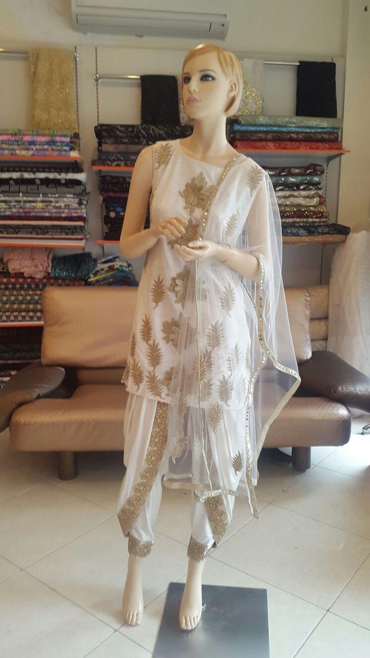 dhoti#white#raw-silk#gold-boarder#desi-style#net-duppata#short-kurta#