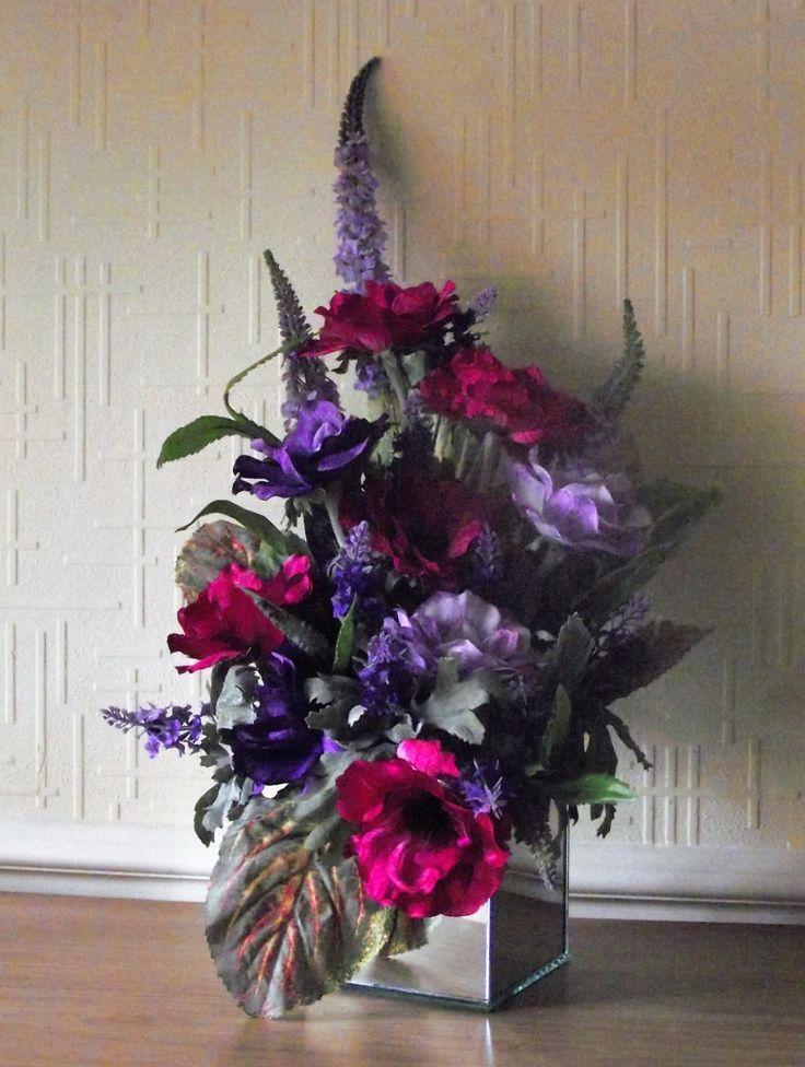 60 best flower arrangements images on pinterest wild flowers art silk flower arrangement cerise and purple top quality realistic flowers arranged in a quality mirror vase mightylinksfo