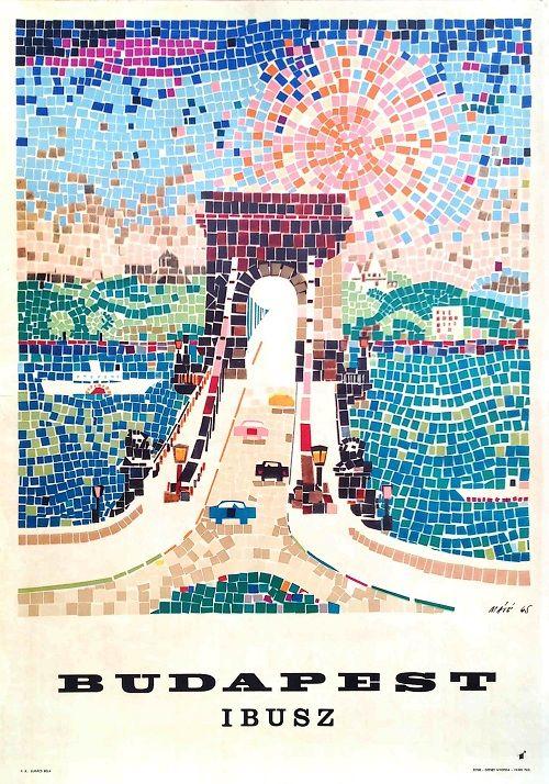 Ibusz Budapest (1965) utazási plakát  Máté, András  vintage Hungarian travel poster