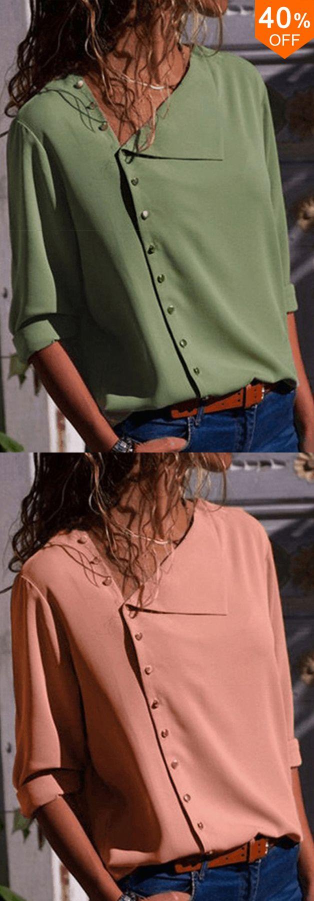 Bis zu 40% Rabatt & kostenloser Versand. Damen Langarm Button Down Lose Casual Basic Bluse. Ich liebe diese modischen und schönen Outfits von banggood.co.