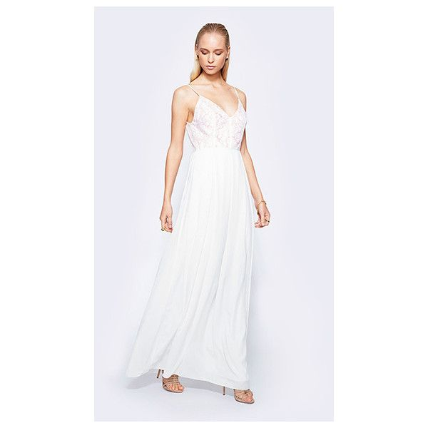 Fame&Partners V Neck Long White Emma Kate Dress (8,750 THB) ❤ liked on Polyvore featuring dresses, gowns, longv-neckplus sizelace, white, white prom dresses, long white dress, white lace dress, long formal evening gowns and long formal gowns
