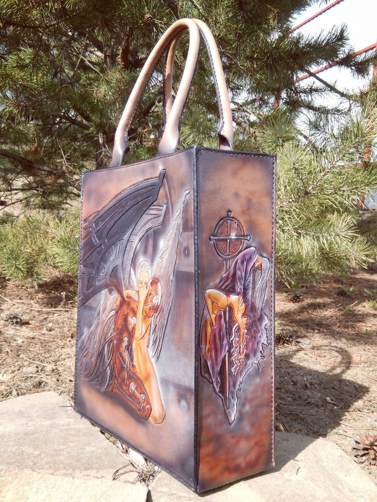 Leather bag. illustration artist Luis Royo. Leather art work Gulya Vorona (Гуля Ворона)