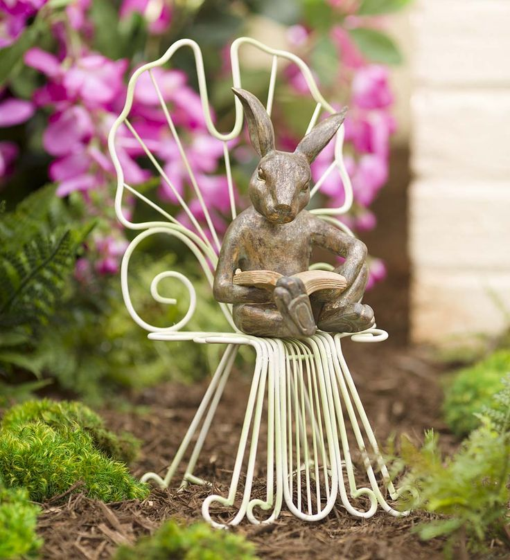 Bunny Figurine On Ginkgo Chair In Garden Sculptures