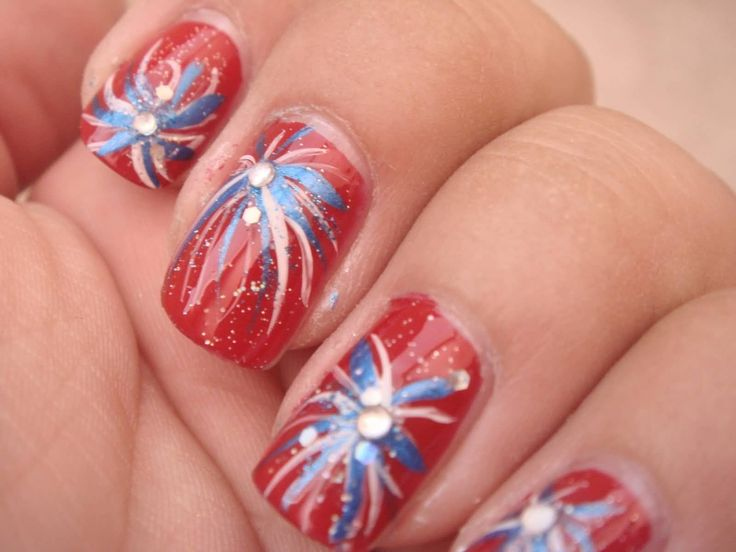 Best 25 firework nails ideas on pinterest new years nail fourth of july fireworks nail art with rhinestones prinsesfo Gallery
