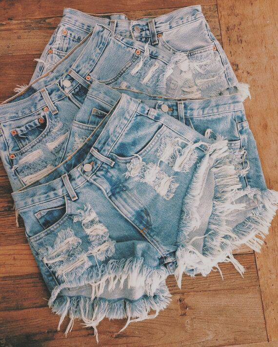 Denim shorts.