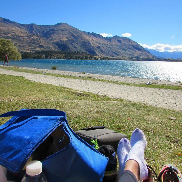 Who is keen for a picnic this afternoon?  . Viajar de van é fácil. Difícil é comer comida enlatada e sanduiche todos os dias!  . #newzealand #nomadiccarol #carolprates