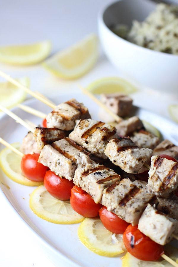 Grilled Lemon and Garlic Swordfish Skewers ~ So easy, healthy and perfect for summer!