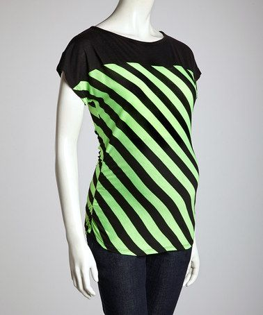 Take a look at this Lime & Black Stripe Maternity Short-Sleeve Top - Women by QT Maternity on #zulily today!