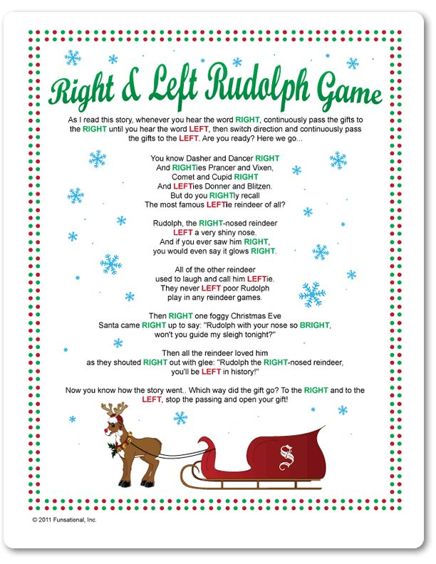 Printable Right & Left Rudolph Game