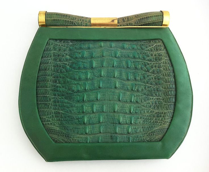 1930's Art Deco Saks Green Lizard Purse