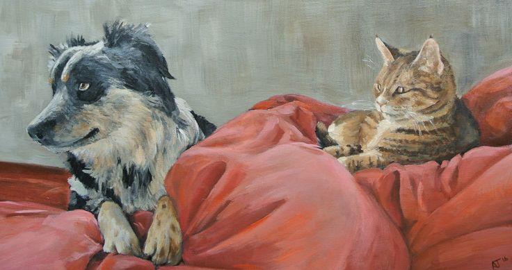 Dog and Cat, Animal Artwork, Collie, Original Oil Painting, Art, Pet Portrait