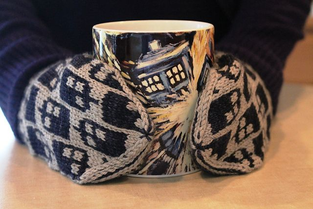 Tardis mittens pattern for Whovian knitters! Ravelry: Project Gallery for Police Box Mittens pattern by SpillyJane