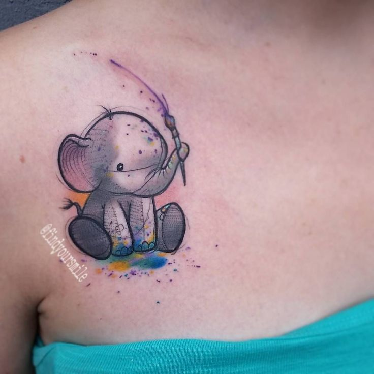 100 Watercolor Tattoos That Perfectly Replicate The Medium: 17 Best Ideas About Cute Elephant Tattoo On Pinterest