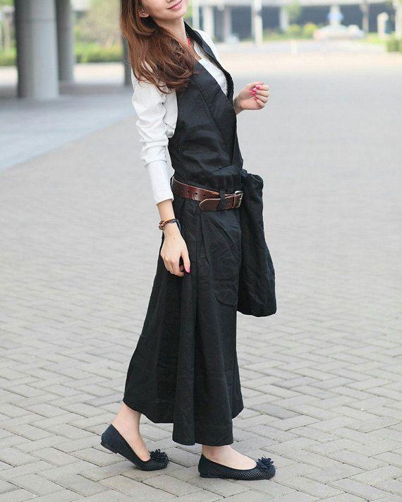 Black Linen Halter Long Dress/ Maxi Sundress от camelliatune