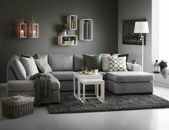 déco salon gris, couleur peinture salon gris, canapé, tapis et sol ...