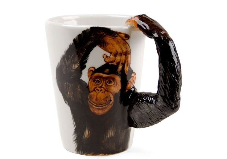 Great Fun! - a hand made and hand painted chimpanzee mug from Blue Witch.