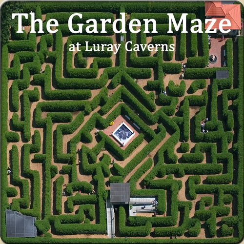 The Garden Maze at Luray Caverns. Unravel the mystery of the largest garden maze in the Mid-Atlantic states - a one acre ornamental garden at Luray Caverns.Eight foot tall hedges create a pathway of puzzlement. A misting fog provides cooling and special effects.On your journey through the maze, you will travel past fountains, through hidden tunnels, and over a lookout tower.A-maze-ing fun!