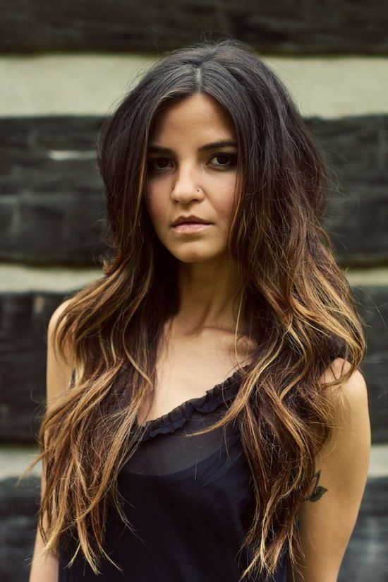 Ombre hair color, from dark to caramel. | Indian Ombre | Pinterest