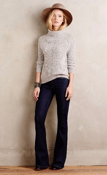 Stitch Fix Want - I need tailored dark flare jeans + I like softness of this outfit.