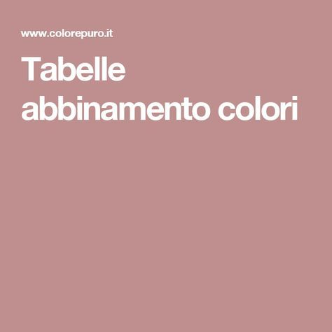 Tabelle abbinamento colori
