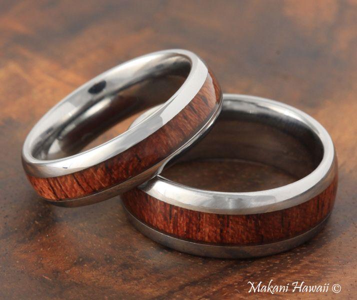 6mm tungsten koa wood inlaid wedding ring makani hawaiihawaiian heirloom jewelry wholesaler and - Koa Wood Wedding Rings