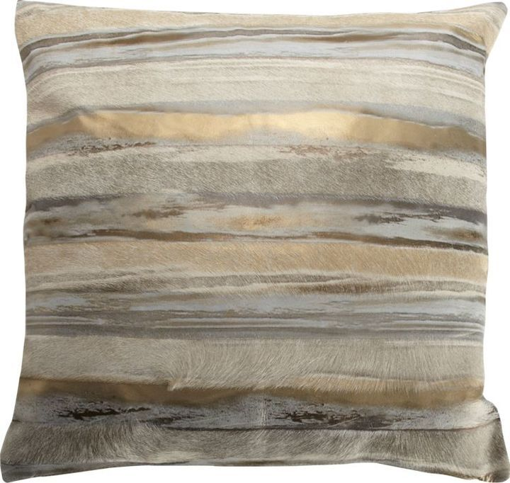 gold and silver striped metallic cowhide pillow