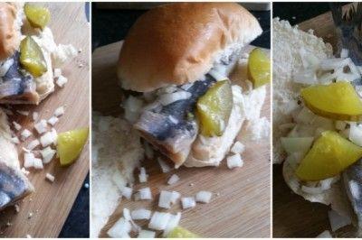 Broodje haring met ui en een zuurtje