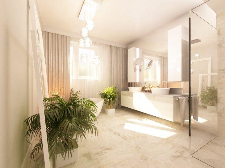 Aranżacja wnętrza przestronnej łazienki pod Warszawą. Beżowa łazienka z wolnostojąca wanną, przy oknie, otwierającym się na ogród.