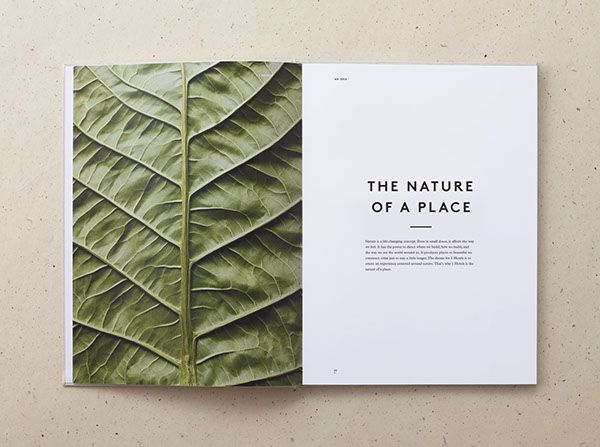 """1 Hotels Branding on Behance """"the more simple photographs have been paired with large, attention-grabbing pull quotes, while the more textured and complicated images have been paired with a small piece of body copy"""""""