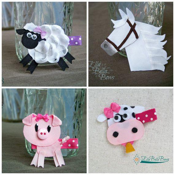 Farm Animal Collection Set, Ribbon Sculpture Hair Clips, Horse, Cow, Sheep, Pig, Hair Bows, SET OF 4