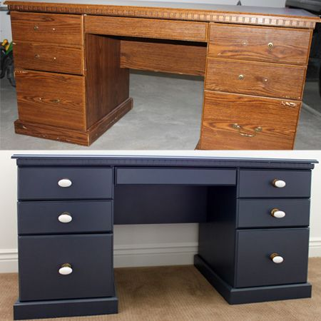 Before And After Teen Boys Bedroom Makeover Rustoleum Spray Painted Desk.  Painting Laminate Only Requires
