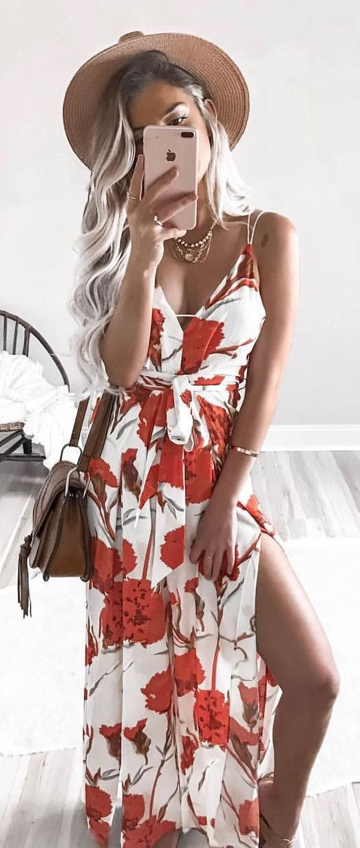 #summer #outfits  Brown Hat + White Floral Maxi Dress