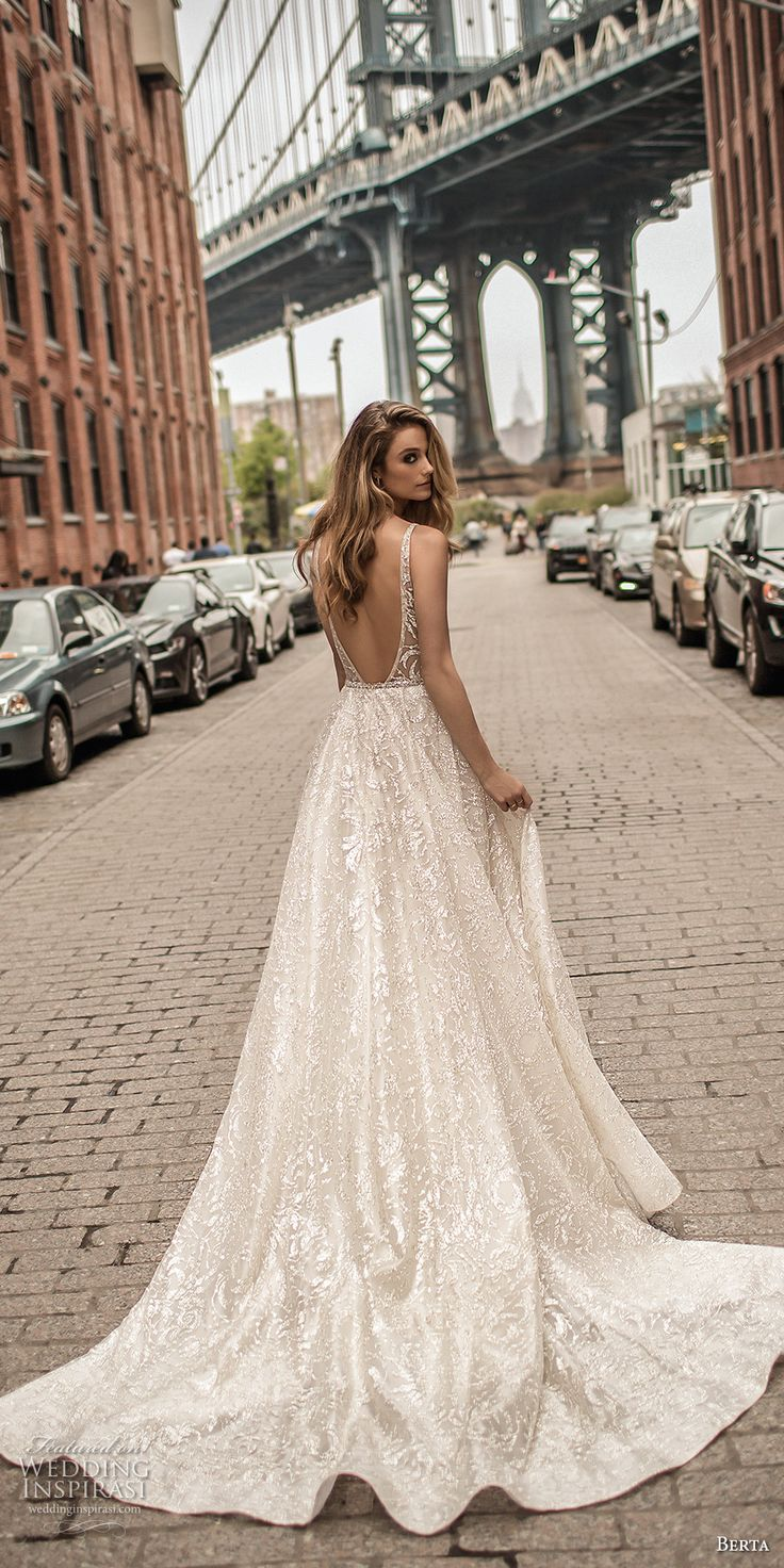 berta spring 2018 bridal sleeveless deep plunging v neck full embellishment sexy romantic a  line wedding dress pockets open scoop back chapel train (4) bv -- Berta Spring 2018 Wedding Dresses