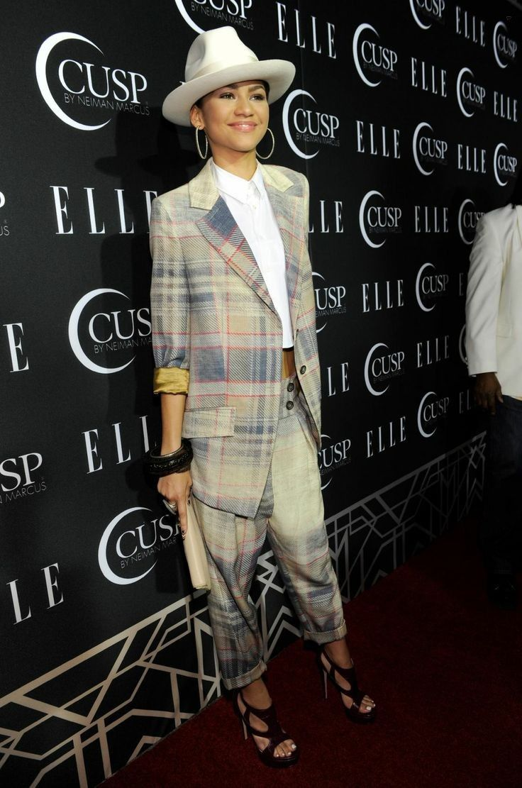 Zendaya Coleman.. Vivienne Westwood plaid suit, H. Lorenzo button-up cropped blouse, Ruthie Davis 'Zendaya' Sandals, and John Hardy Jewellery..... - Celebrity Fashion Trends