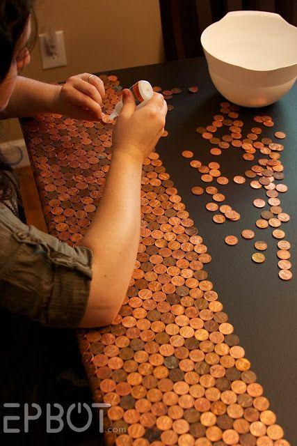 How-to: Tables or floors topped with pennies