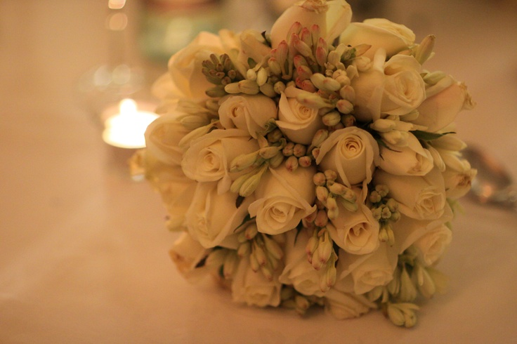 Bouquet of ivory roses & Tuber Roses www.redearthflowers.com.au  #weddings #white #rose #bouquet
