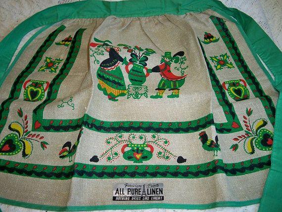 Vintage Parisian Prints Penn Dutch Linen Kitchen Apron Mint With Tag Green Trim by BlackRain4, $29.99