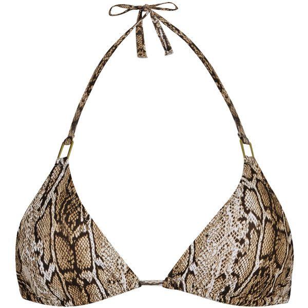Melissa Odabash Cancun snake-print halterneck bikini top (£95) ❤ liked on Polyvore featuring swimwear, bikinis, bikini tops, halter swim top, halter bikini, halter tankini top, brown tankini top and brown bikini top
