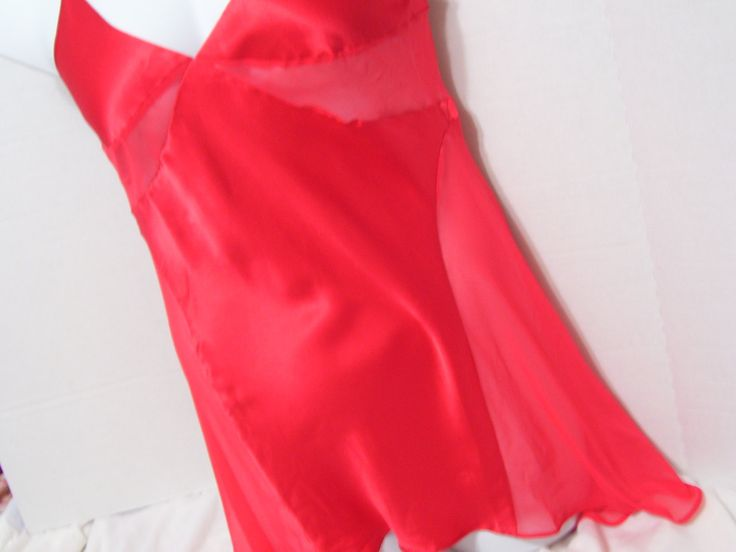 True Red Liquid Silk Lingerie Set Chemise Thong by cachecastle